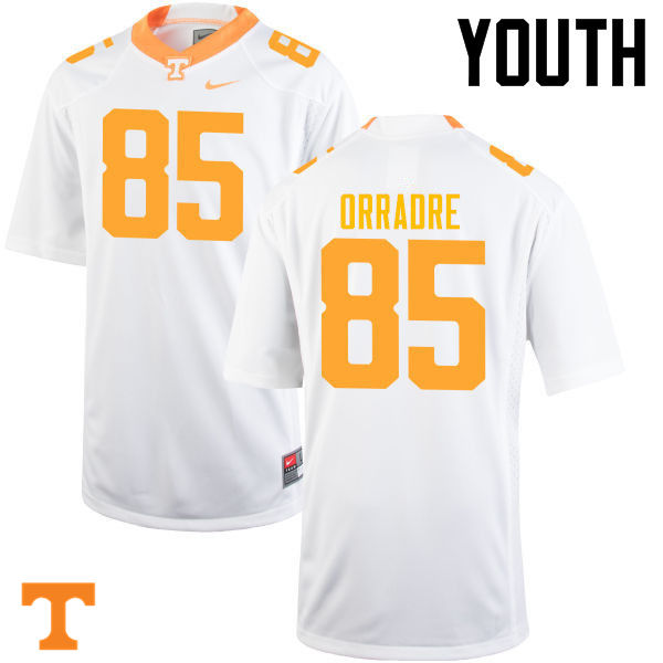 Youth #85 Thomas Orradre Tennessee Volunteers College Football Jerseys-White