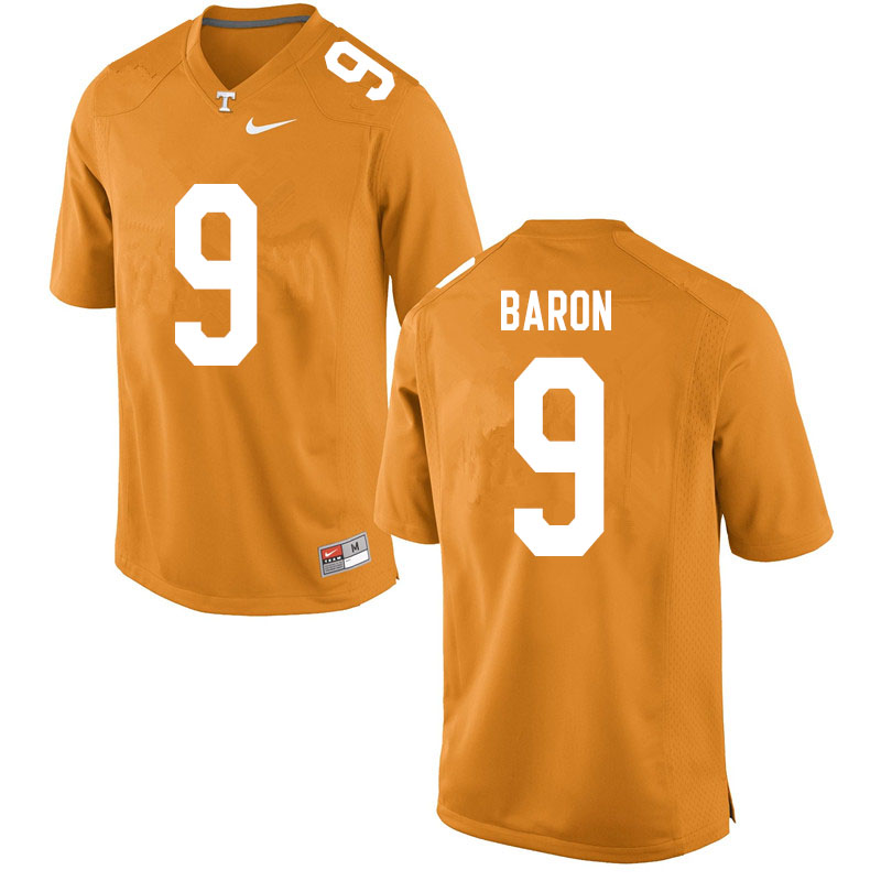 Men #9 Tyler Baron Tennessee Volunteers College Football Jerseys Sale-Orange
