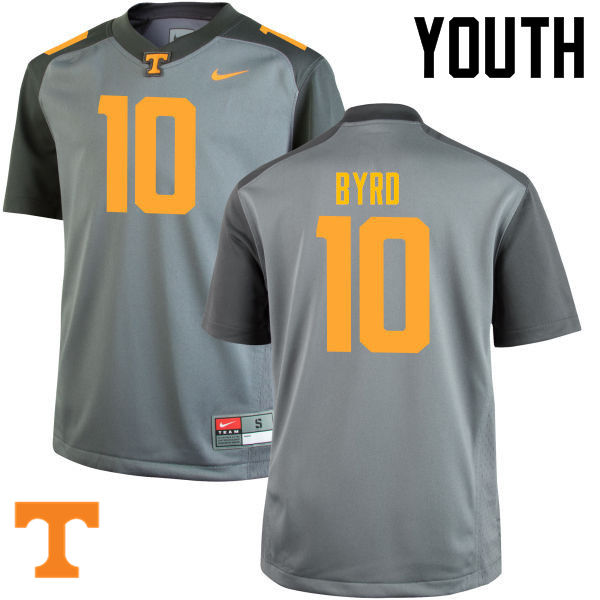 Youth #10 Tyler Byrd Tennessee Volunteers College Football Jerseys-Gray