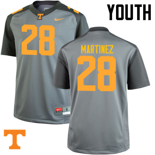 Youth #28 Will Martinez Tennessee Volunteers College Football Jerseys-Gray