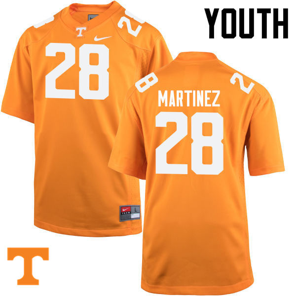 Youth #28 Will Martinez Tennessee Volunteers College Football Jerseys-Orange