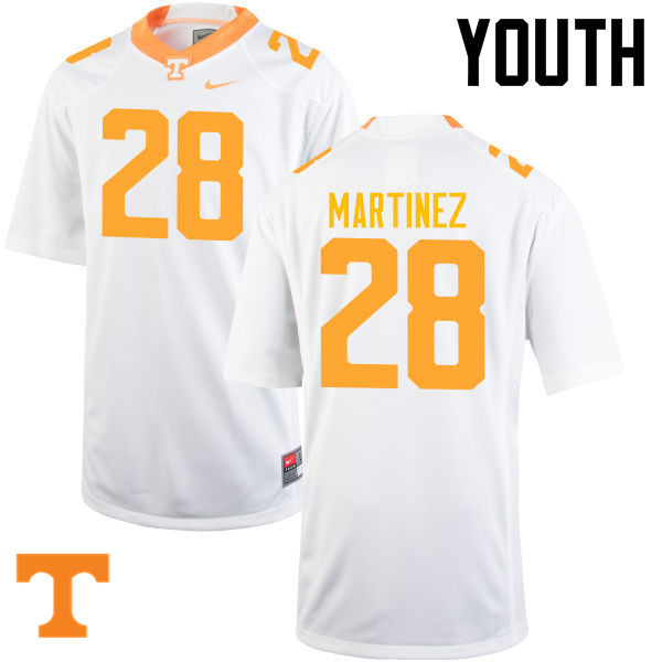 Youth #28 Will Martinez Tennessee Volunteers College Football Jerseys-White