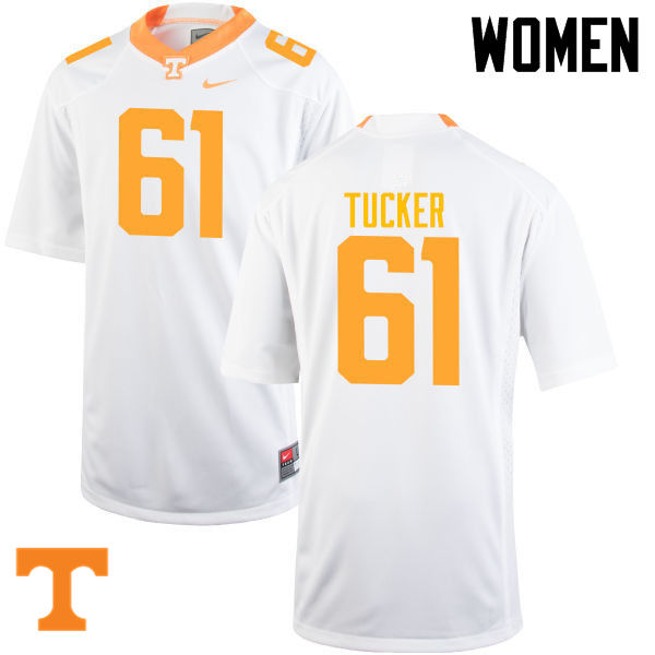 Women #61 Willis Tucker Tennessee Volunteers College Football Jerseys-White