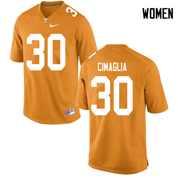 Women #30 Brent Cimaglia Tennessee Volunteers College Football Jerseys Sale-Orange