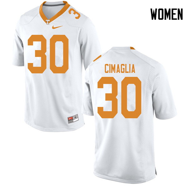Women #30 Brent Cimaglia Tennessee Volunteers College Football Jerseys Sale-White