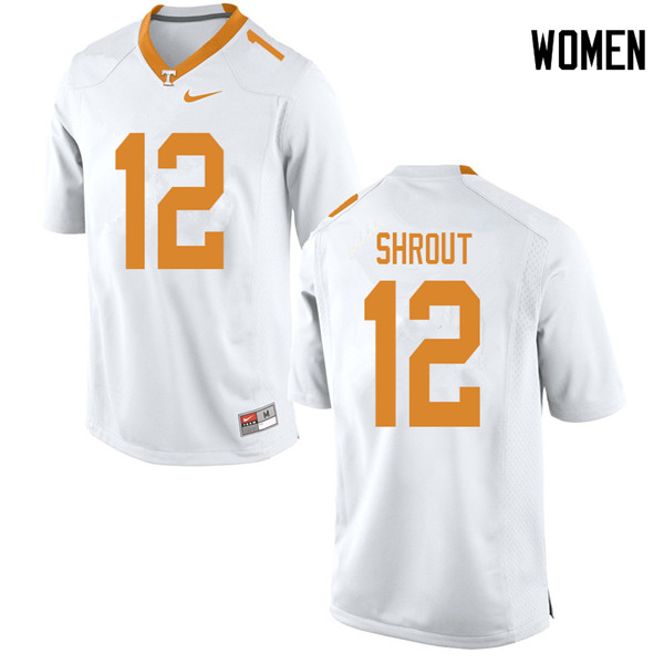Women #12 JT Shrout Tennessee Volunteers College Football Jerseys Sale-White