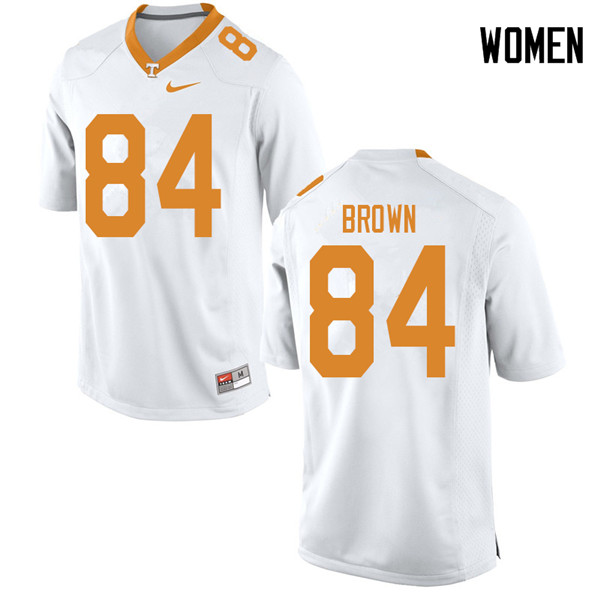 Women #84 James Brown Tennessee Volunteers College Football Jerseys Sale-White