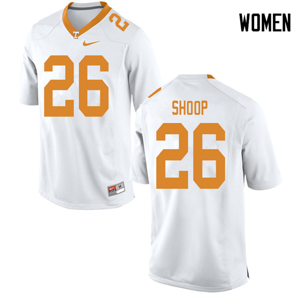 Women #26 Jay Shoop Tennessee Volunteers College Football Jerseys Sale-White
