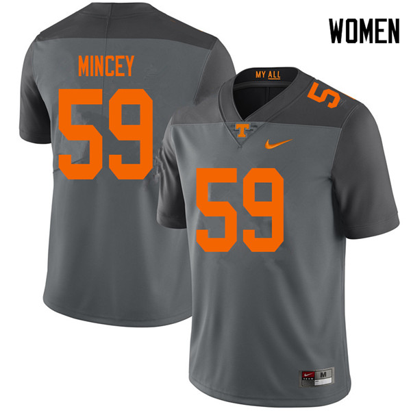 Women #59 John Mincey Tennessee Volunteers College Football Jerseys Sale-Gray