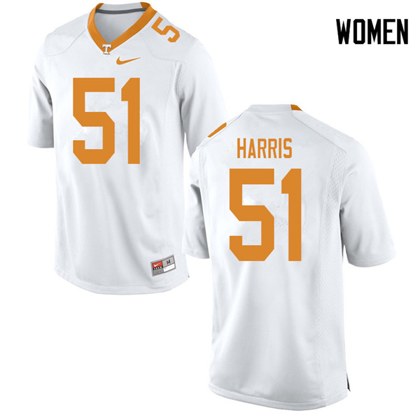 Women #51 Kingston Harris Tennessee Volunteers College Football Jerseys Sale-White