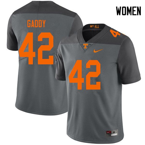 Women #42 Nyles Gaddy Tennessee Volunteers College Football Jerseys Sale-Gray