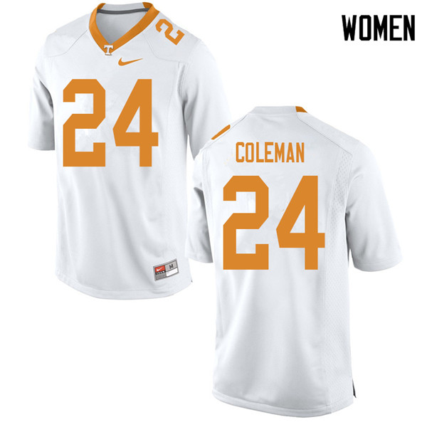 Women #24 Trey Coleman Tennessee Volunteers College Football Jerseys Sale-White