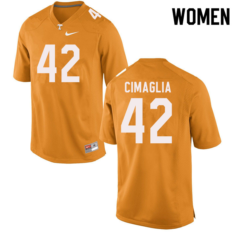 Women #42 Brent Cimaglia Tennessee Volunteers College Football Jerseys Sale-Orange