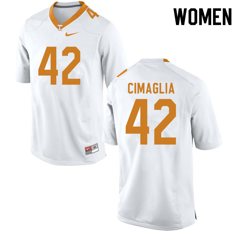 Women #42 Brent Cimaglia Tennessee Volunteers College Football Jerseys Sale-White