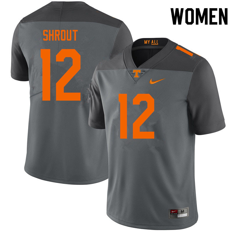 Women #12 J.T. Shrout Tennessee Volunteers College Football Jerseys Sale-Gray