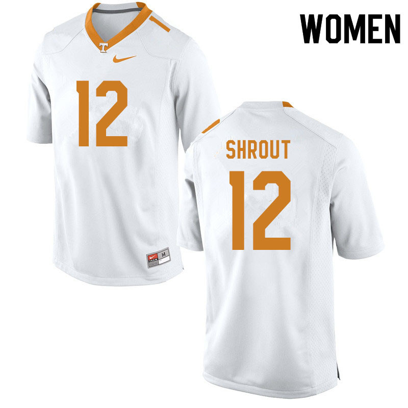 Women #12 J.T. Shrout Tennessee Volunteers College Football Jerseys Sale-White