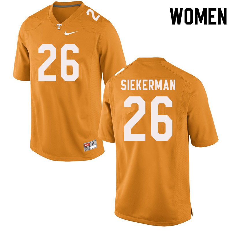 Women #26 JT Siekerman Tennessee Volunteers College Football Jerseys Sale-Orange