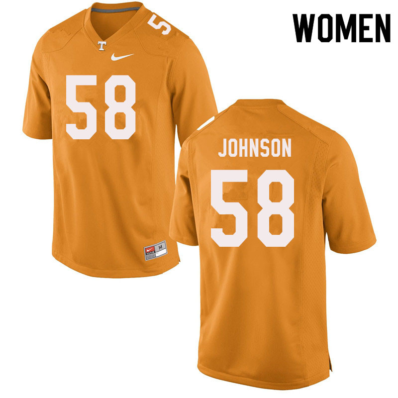 Women #58 Jahmir Johnson Tennessee Volunteers College Football Jerseys Sale-Orange