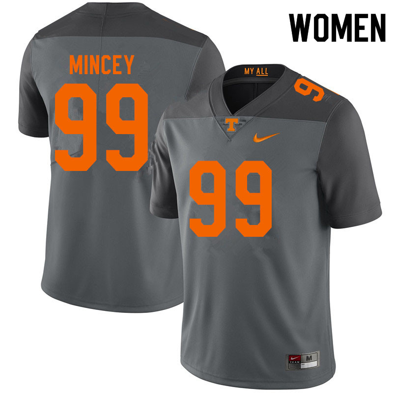 Women #99 John Mincey Tennessee Volunteers College Football Jerseys Sale-Gray