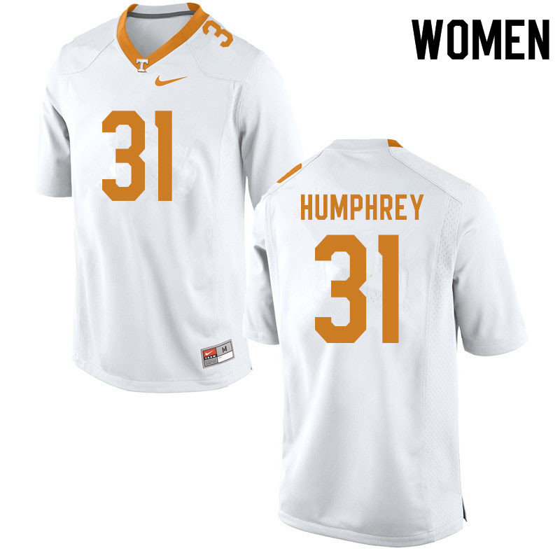 Women #31 Nick Humphrey Tennessee Volunteers College Football Jerseys Sale-White