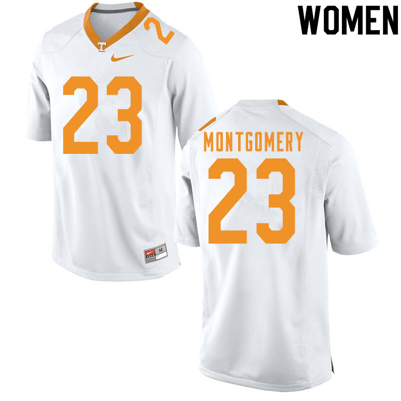 Women #23 Isaiah Montgomery Tennessee Volunteers College Football Jerseys Sale-White