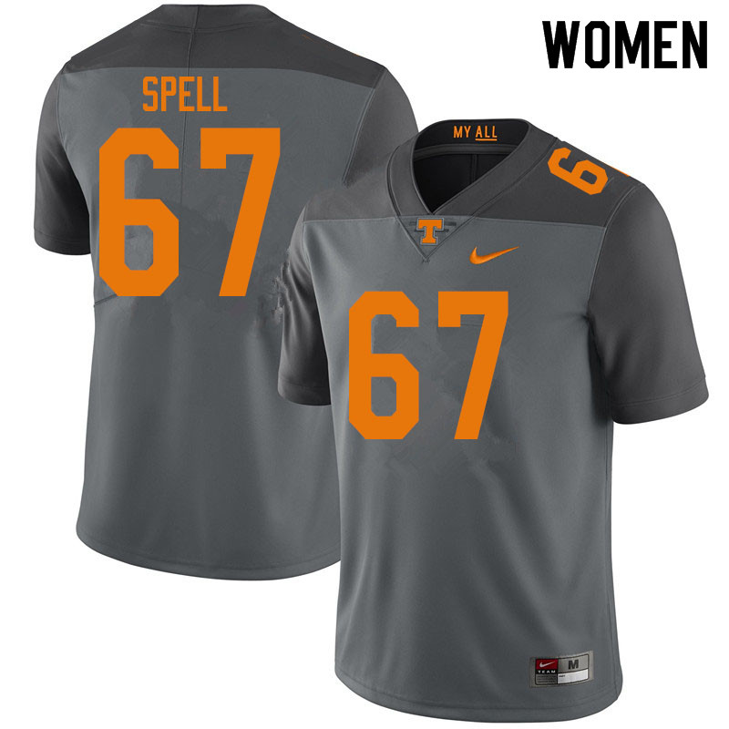 Women #67 Airin Spell Tennessee Volunteers College Football Jerseys Sale-Gray