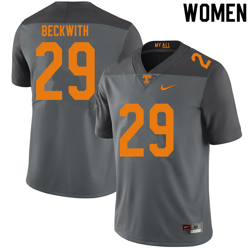 Women #29 Camryn Beckwith Tennessee Volunteers College Football Jerseys Sale-Gray