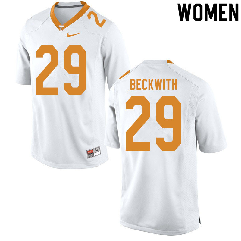 Women #29 Camryn Beckwith Tennessee Volunteers College Football Jerseys Sale-White