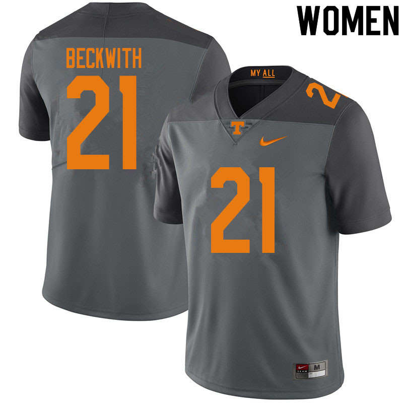 Women #21 Dee Beckwith Tennessee Volunteers College Football Jerseys Sale-Gray