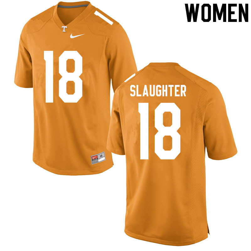 Women #18 Doneiko Slaughter Tennessee Volunteers College Football Jerseys Sale-Orange