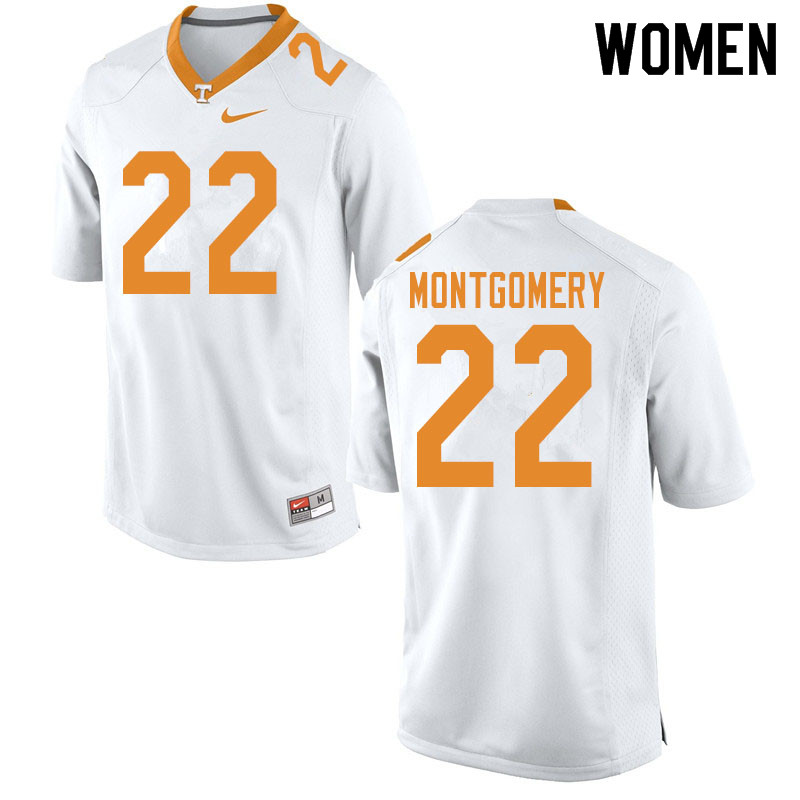 Women #22 Isaiah Montgomery Tennessee Volunteers College Football Jerseys Sale-White