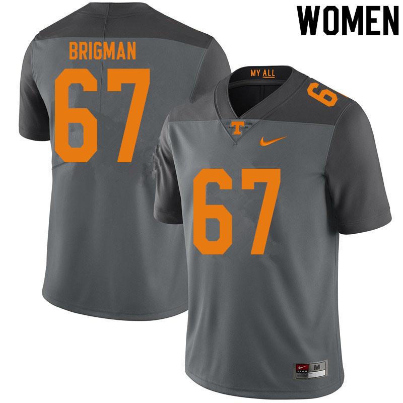 Women #67 Jacob Brigman Tennessee Volunteers College Football Jerseys Sale-Gray