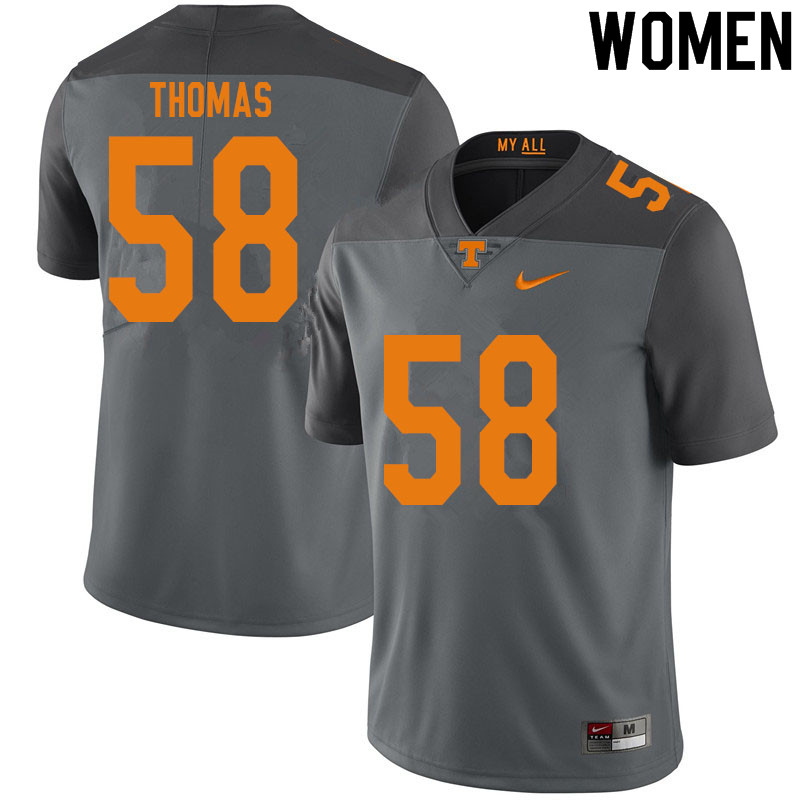 Women #58 Omari Thomas Tennessee Volunteers College Football Jerseys Sale-Gray