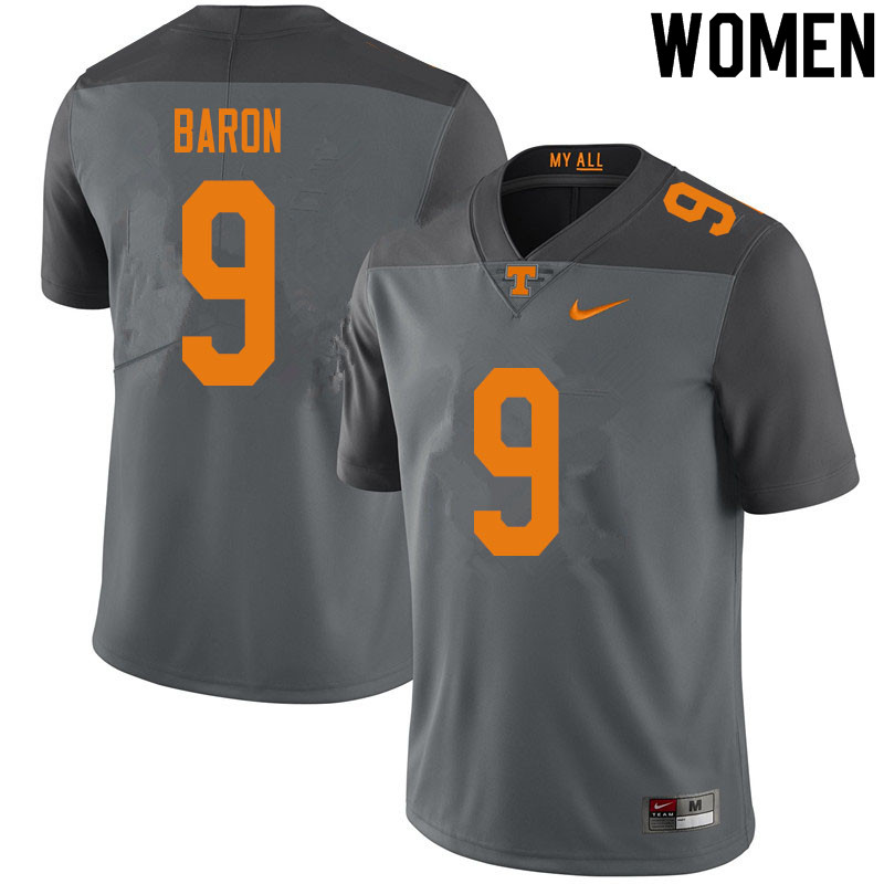 Women #9 Tyler Baron Tennessee Volunteers College Football Jerseys Sale-Gray