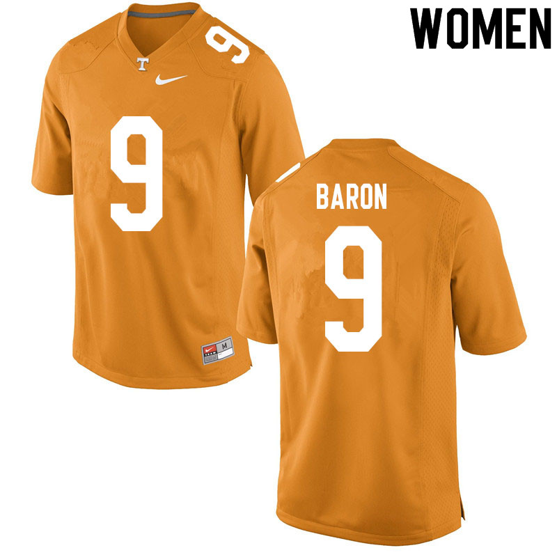 Women #9 Tyler Baron Tennessee Volunteers College Football Jerseys Sale-Orange