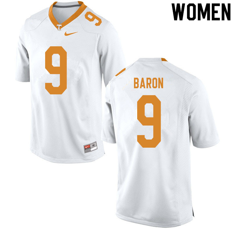 Women #9 Tyler Baron Tennessee Volunteers College Football Jerseys Sale-White