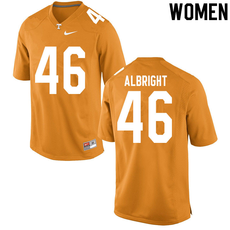 Women #46 Will Albright Tennessee Volunteers College Football Jerseys Sale-Orange