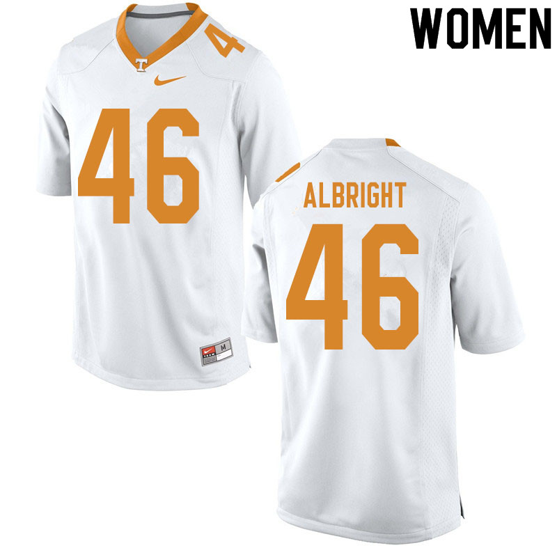 Women #46 Will Albright Tennessee Volunteers College Football Jerseys Sale-White