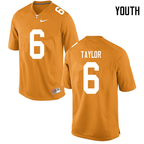Youth #6 Alontae Taylor Tennessee Volunteers College Football Jerseys Sale-Orange