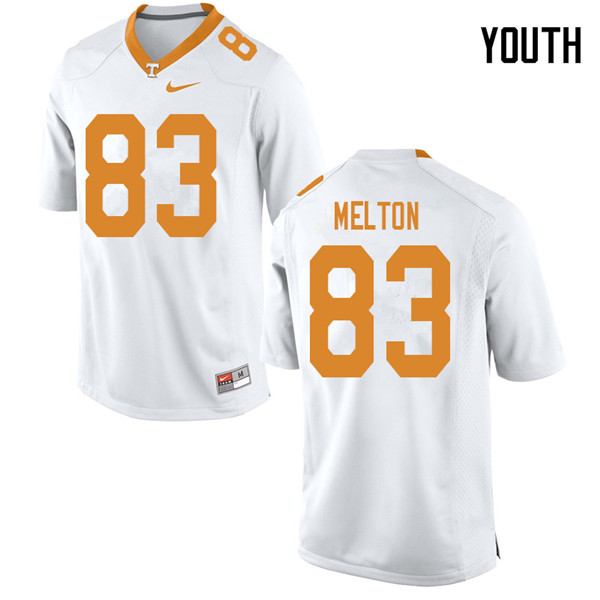 Youth #83 Cooper Melton Tennessee Volunteers College Football Jerseys Sale-White