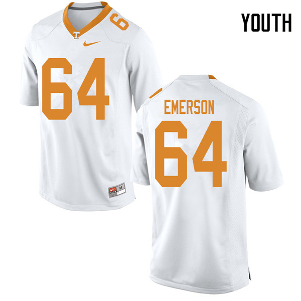 Youth #64 Greg Emerson Tennessee Volunteers College Football Jerseys Sale-White
