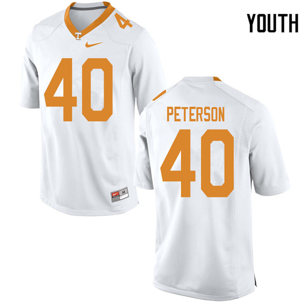 Youth #40 JJ Peterson Tennessee Volunteers College Football Jerseys Sale-White
