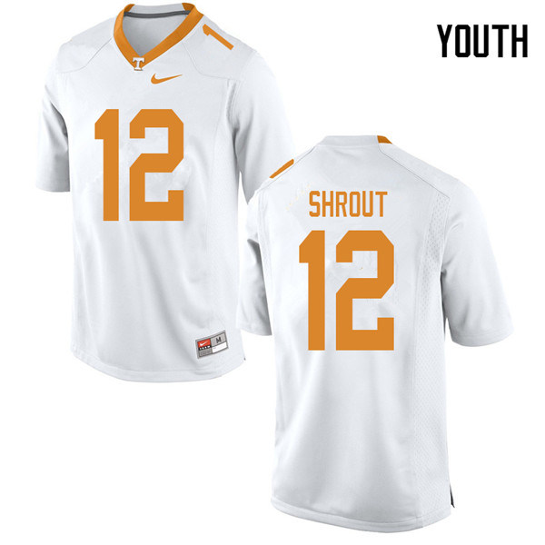 Youth #12 JT Shrout Tennessee Volunteers College Football Jerseys Sale-White