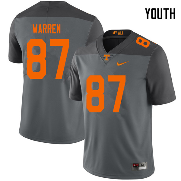 Youth #87 Jacob Warren Tennessee Volunteers College Football Jerseys Sale-Gray