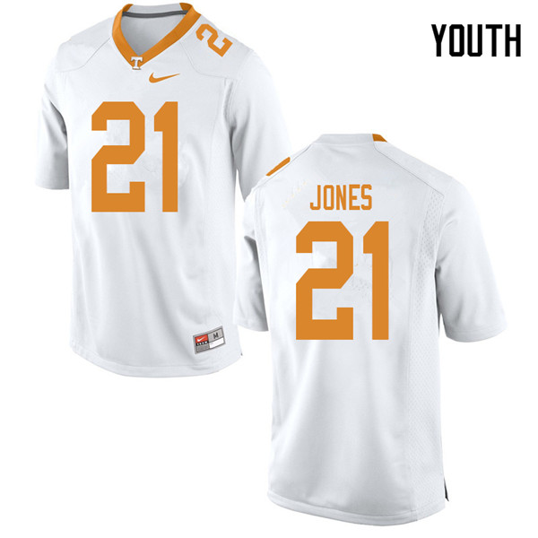 Youth #21 Jacquez Jones Tennessee Volunteers College Football Jerseys Sale-White