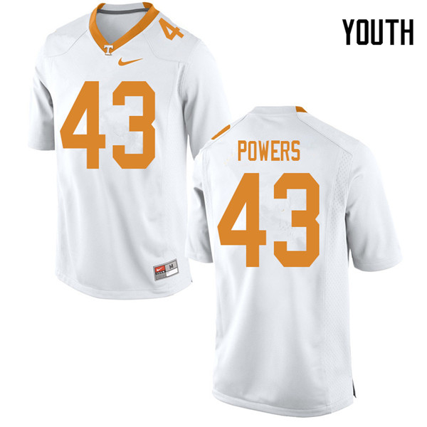 Youth #43 Jake Powers Tennessee Volunteers College Football Jerseys Sale-White