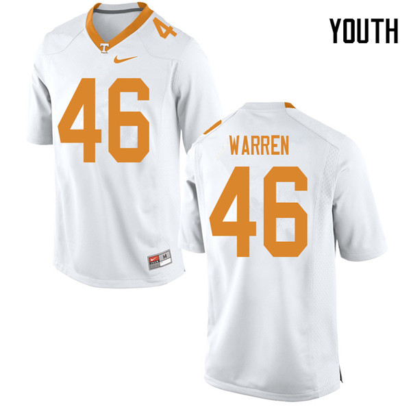 Youth #46 Joshua Warren Tennessee Volunteers College Football Jerseys Sale-White