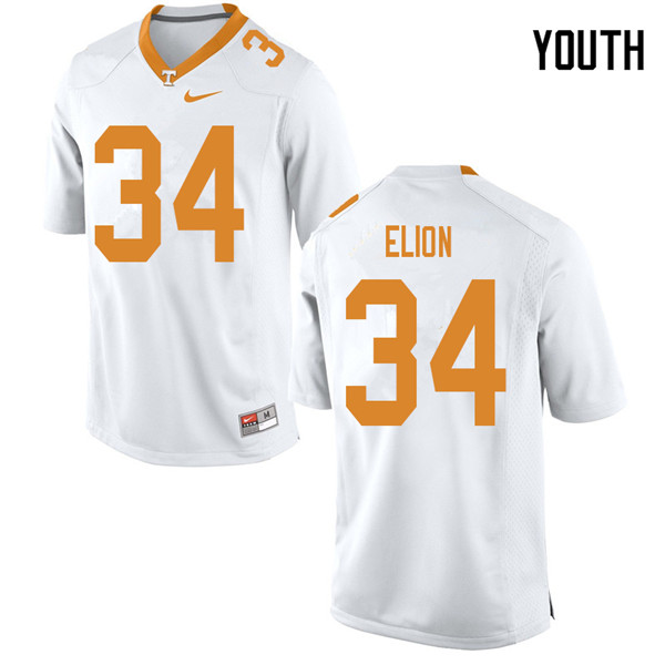 Youth #34 Malik Elion Tennessee Volunteers College Football Jerseys Sale-White