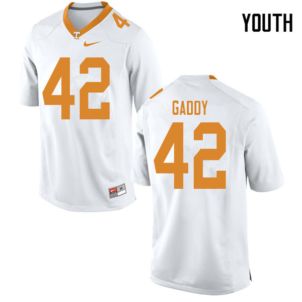 Youth #42 Nyles Gaddy Tennessee Volunteers College Football Jerseys Sale-White
