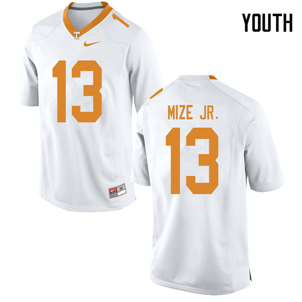Youth #13 Richard Mize Jr. Tennessee Volunteers College Football Jerseys Sale-White